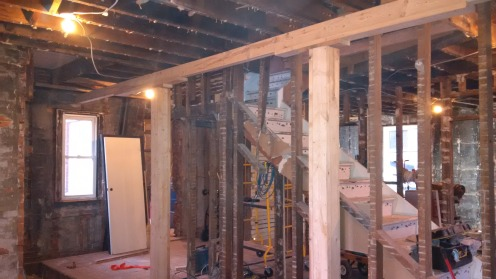 beam and pillars from basement to second floor